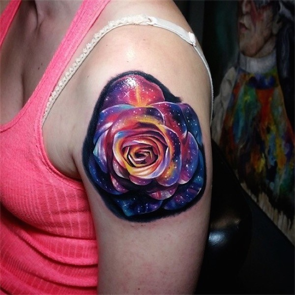 galaxy rose tattoo on shoulder