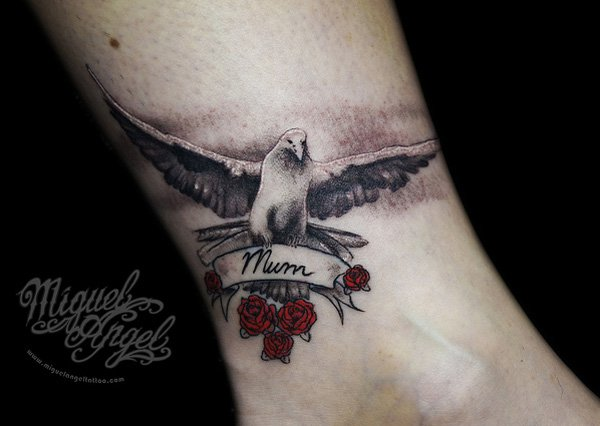 in loving memory for mum dove and rose tattoo