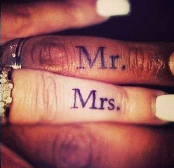 mr and mrs finger tattoos