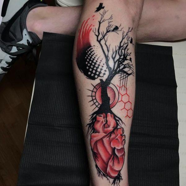 trash polka tree of life-birds-heart tattoo