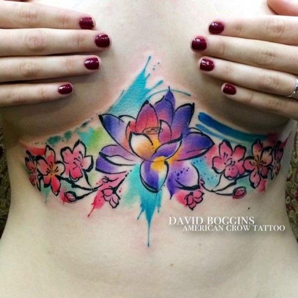 under breast colorful watercolor floral tattoo design