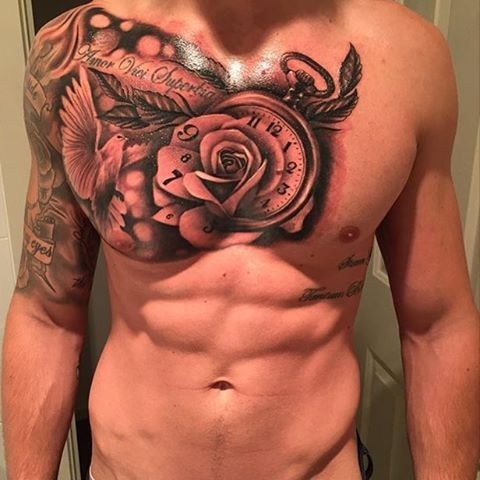 upper sleeve and chest tattoo dove rose quote and clock