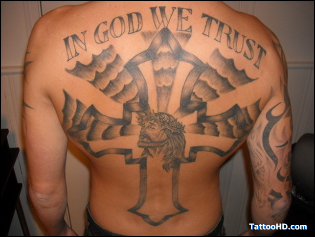 in god we trust with cross jesus tattoo