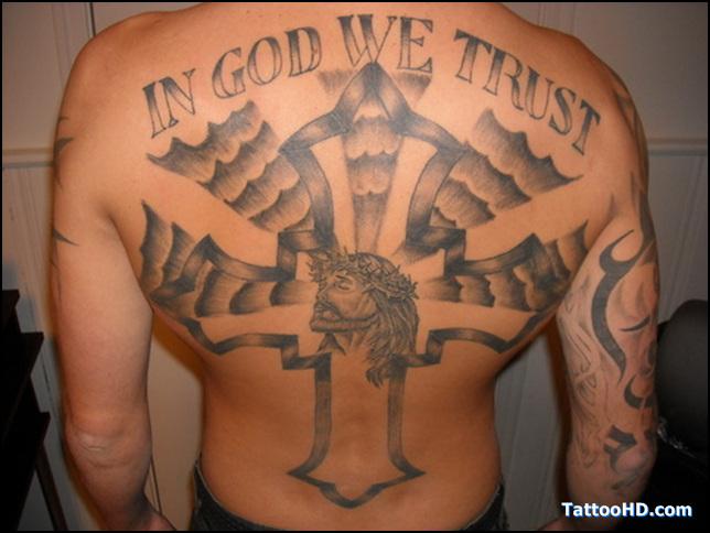 in god we trust with cross jesus tattoo