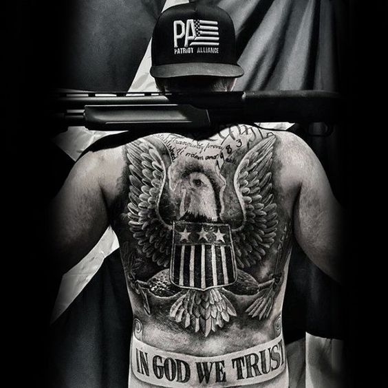 patriotic american nationality pride with in god we trust tattoo