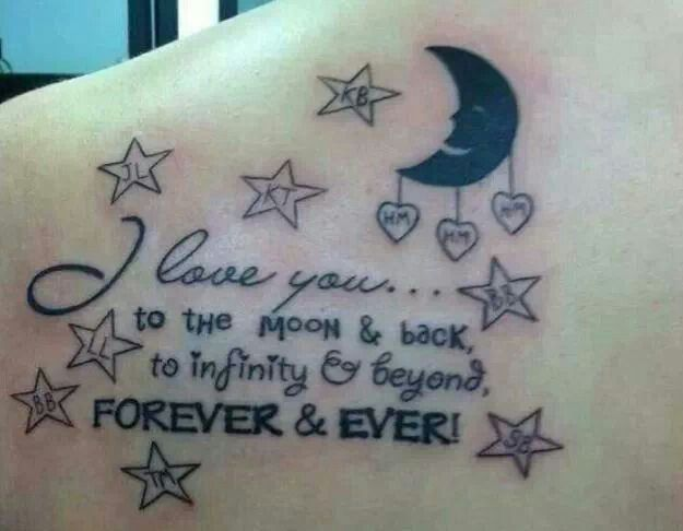 to infinity and beyond quote tattoo on back