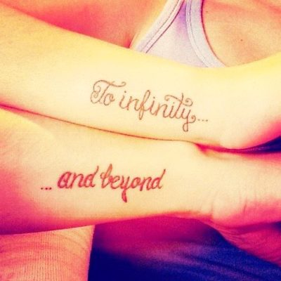 to infinity and beyond side forearm tattoo for couples