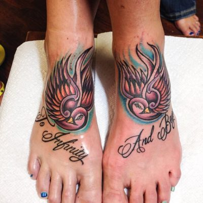 to infinity and beyond tattoo on feet