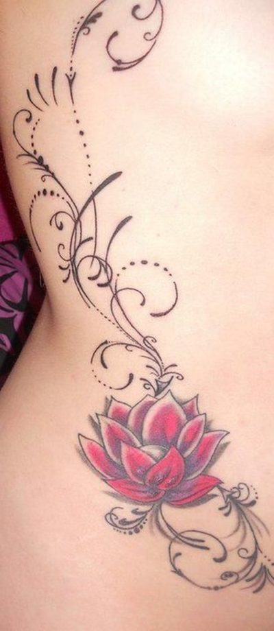 tribal lotus tattoo on side for girls