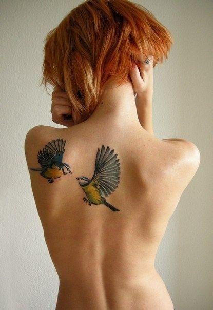 back shoulder realistic birds tattoo for women
