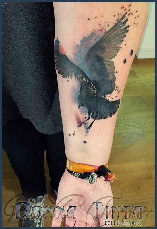 black watercolor ink seagull tattoo