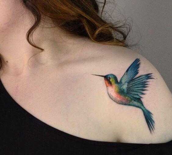 hummingbird tattoo on shoulder for women