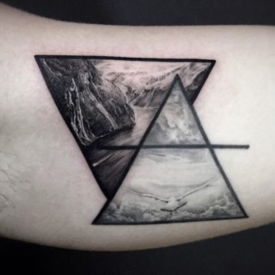 inner bicep tattoo with hyper-realistic painting and flying seagull in triangles