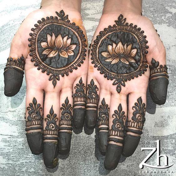 lotus mehndi motif design on front hands for eid