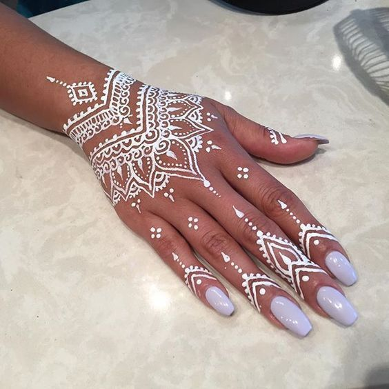 white paisley mehndi design on back hand for eid days
