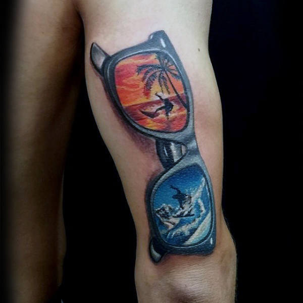 3d summer sunglasses tattoo for men