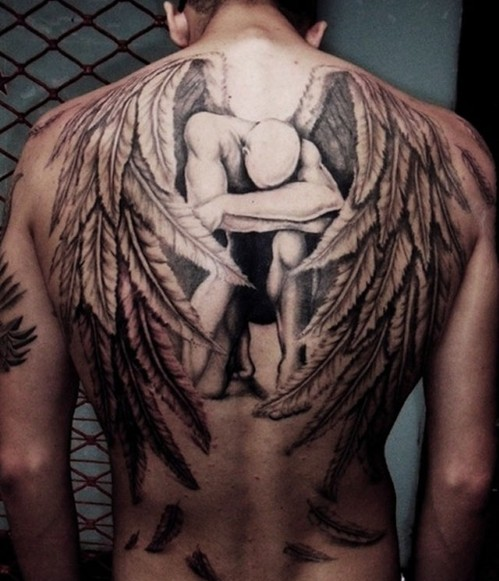 angel tattoos on back for men