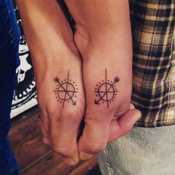 arrow compass tattoo for bff