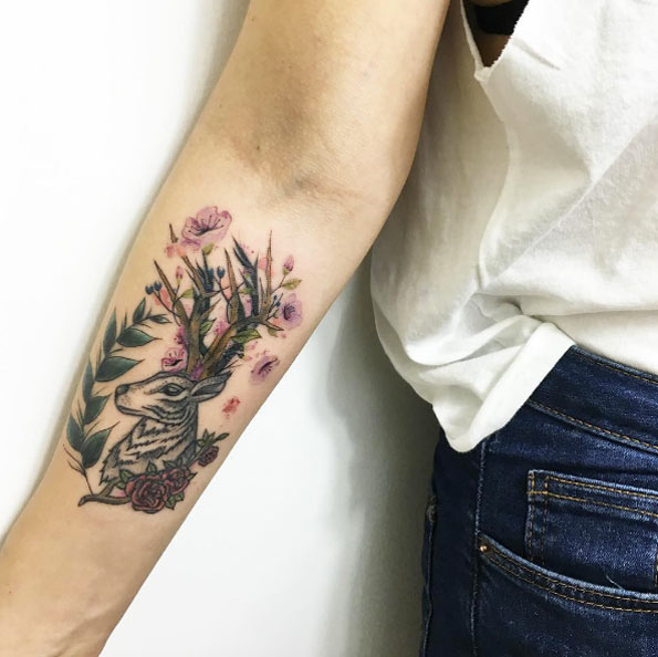 beautiful wild floral stag and deer tattoo
