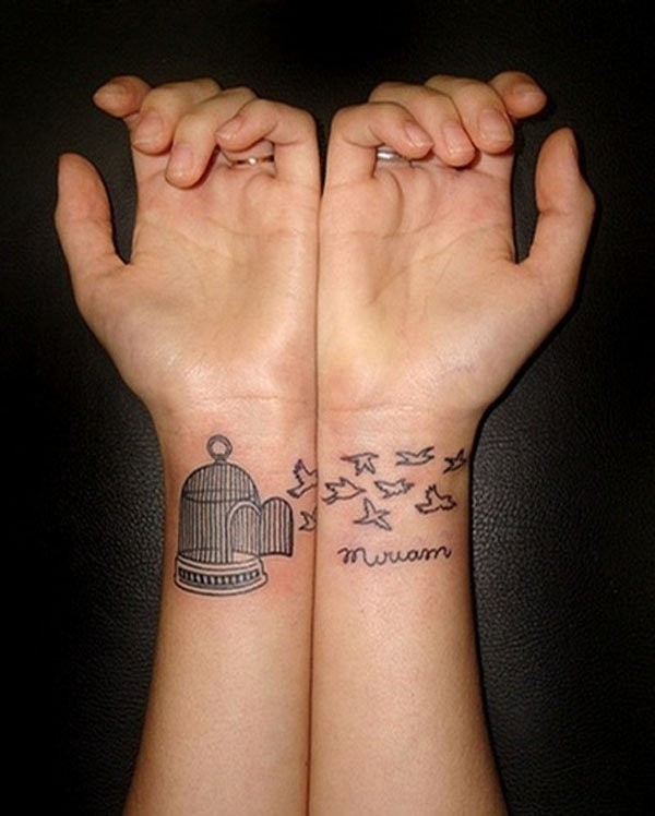 best friends tattoo ideas flying birds from cage