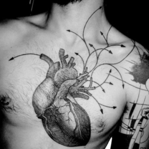 big heart tattoo on chest for men