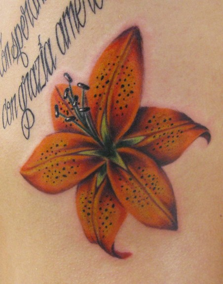 big tiger lily flower tattoo