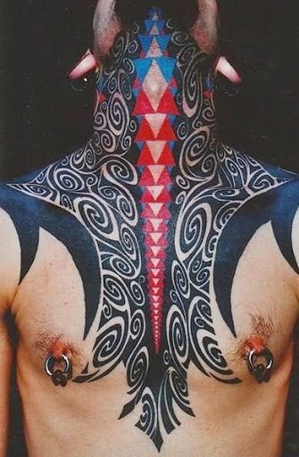 blackwork neck tattoos for men