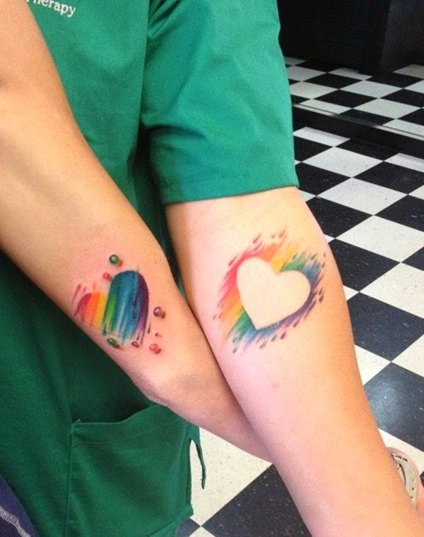 colorful heart tattoos on arm for couples