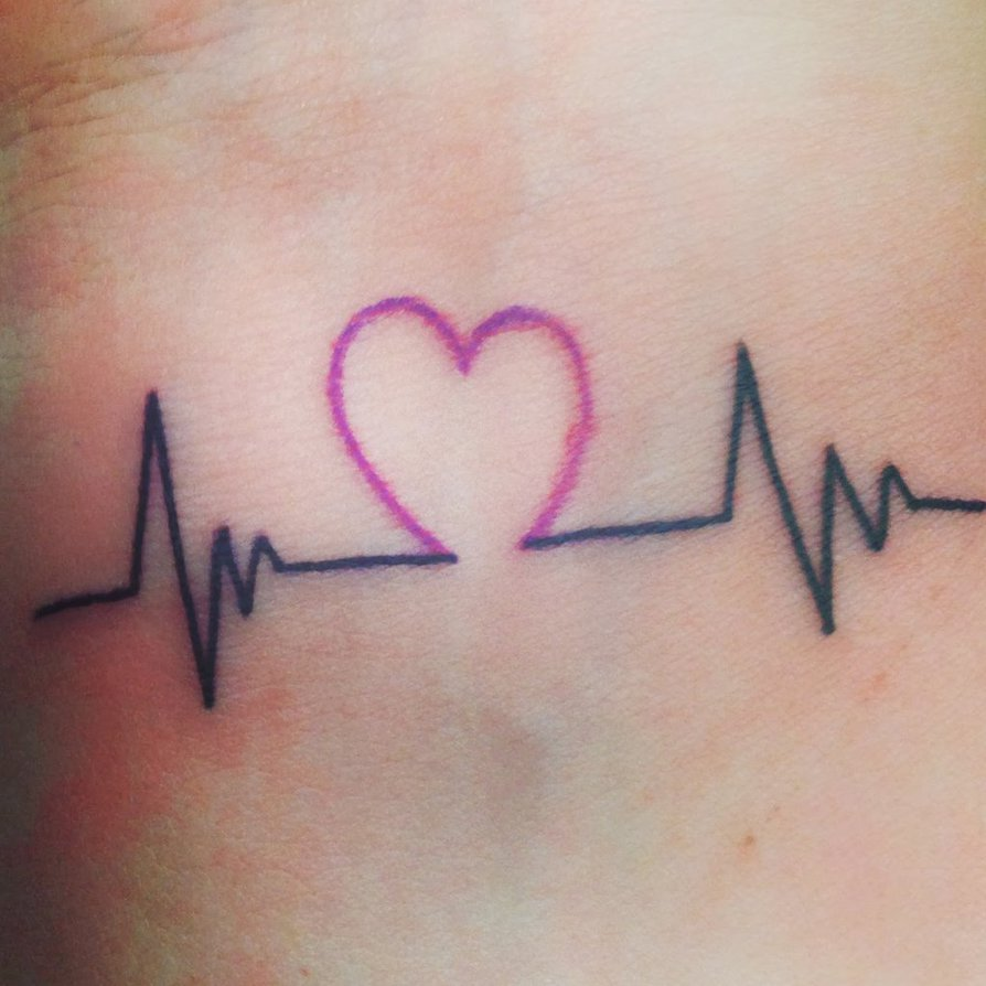 colorful heartbeat tattoo on wrist
