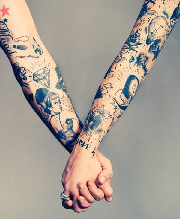 matching couples sleeve tattoos