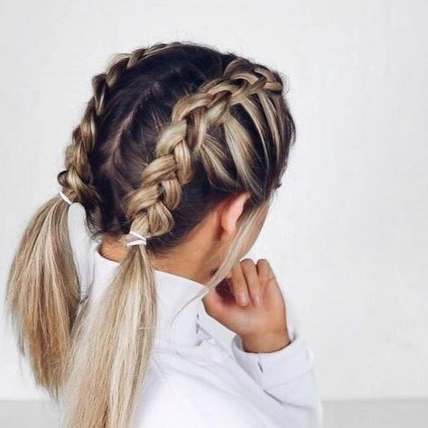 cute french braided pigtails