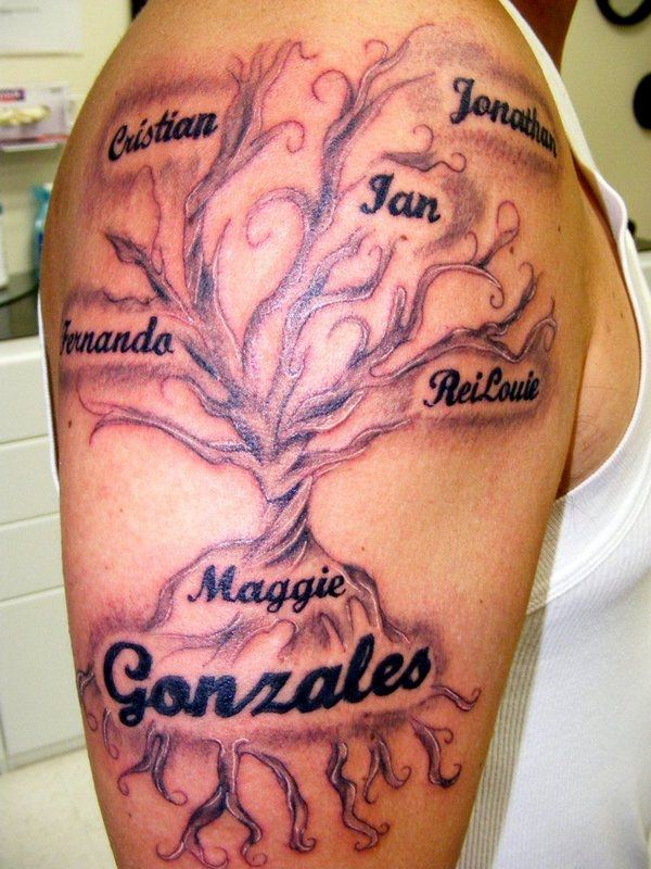 family tree tattoo design on upper sleeve