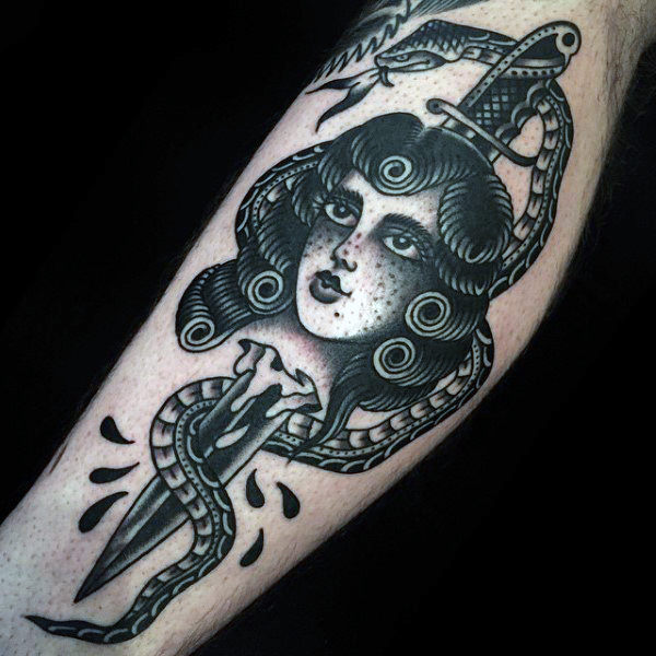 gypsy women with knife snake traditional tattoo