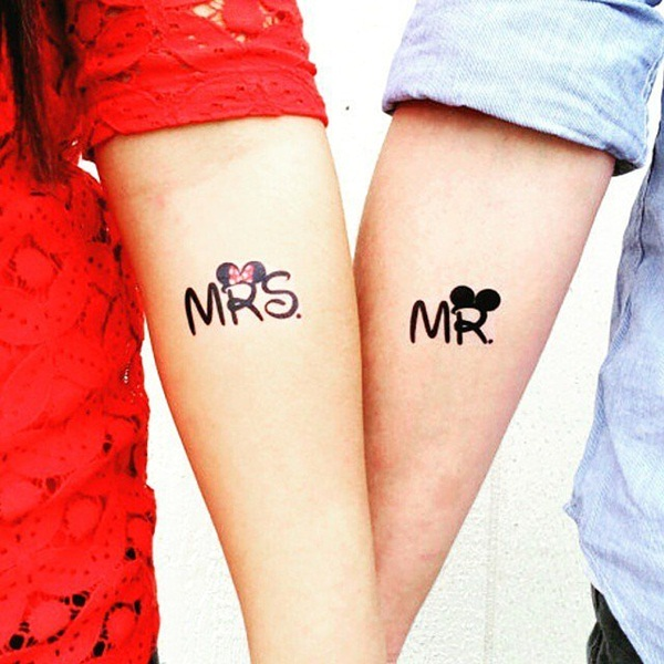 mickey and minnie couples tattoo design