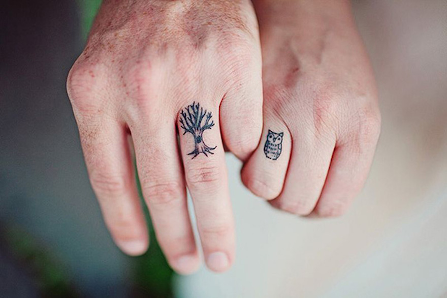 owl and tree for friendship finger tattoo