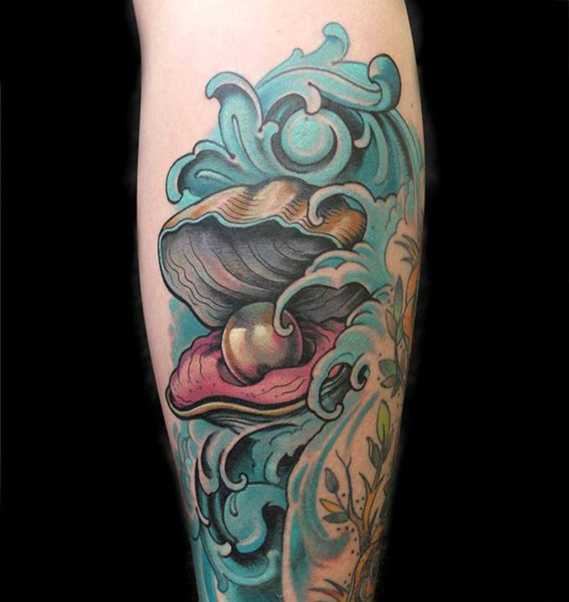 pearl in shell traditional tattoo