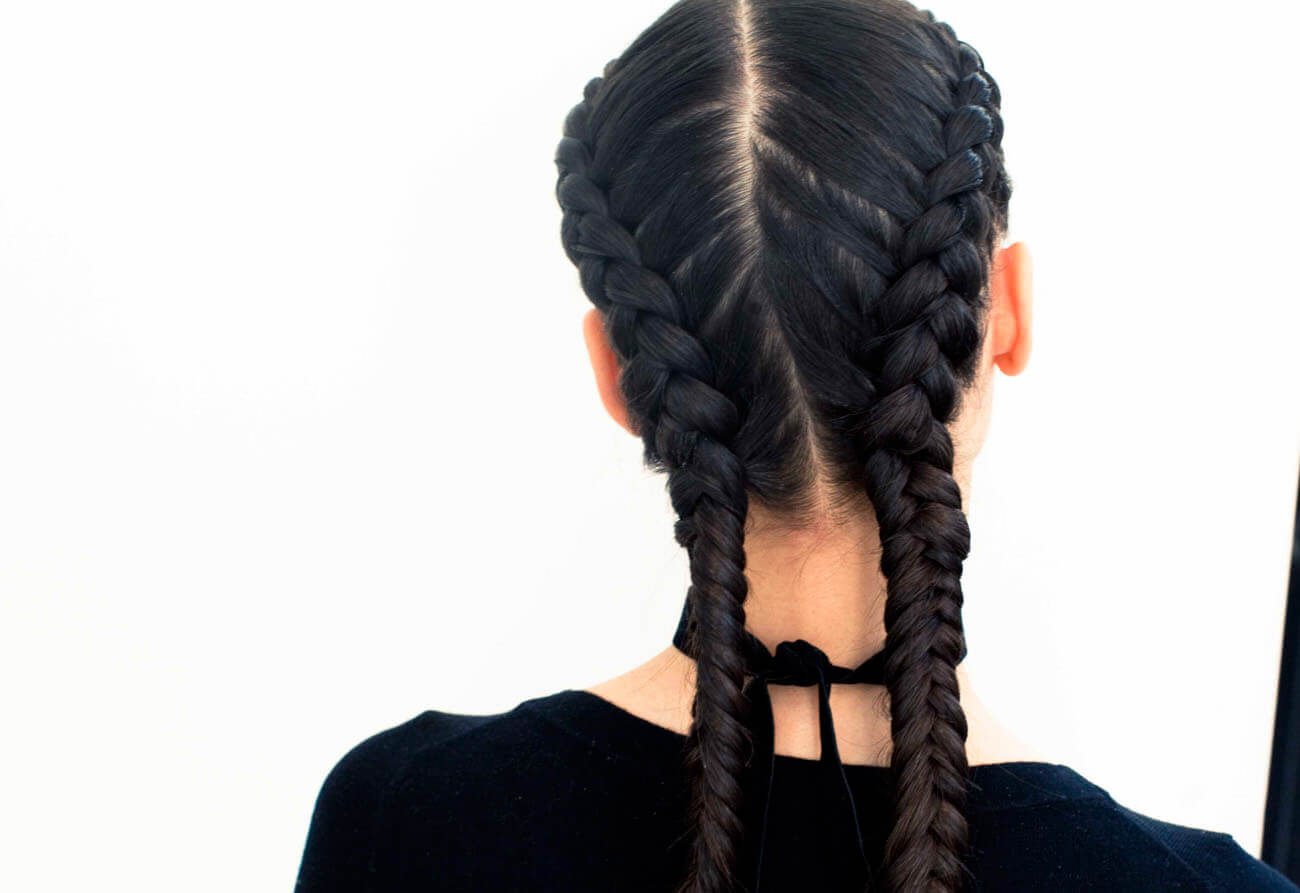 short french braided pigtail