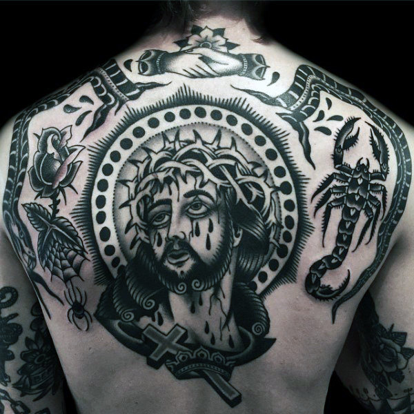 traditional Christianity tattoo on back