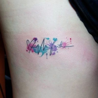 water color love hope faith tattoo symbol on ribs for girls