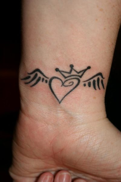 angel wings heart tattoo with crown