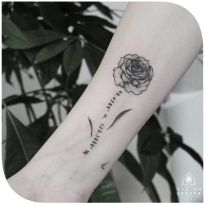 beautiful black and white rose and coordinate tattoo for girls