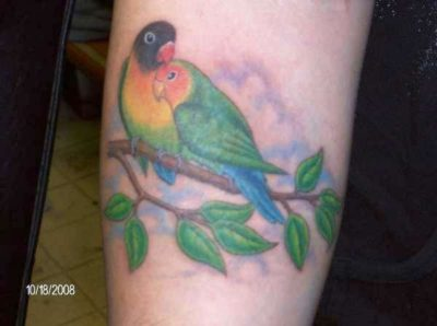 colorful lovebirds on tree branch tattoo