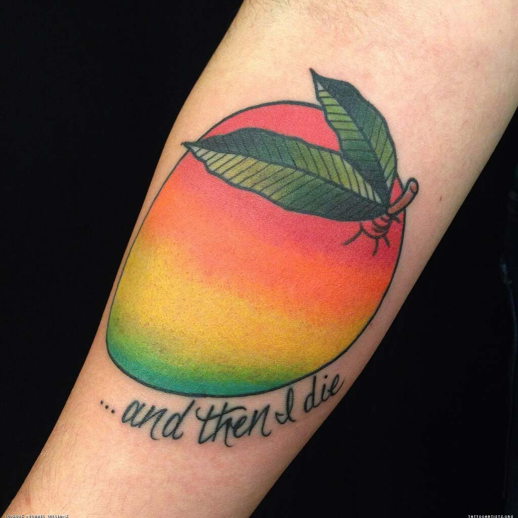 colorful-mango-tattoo-design-with-lettering ...