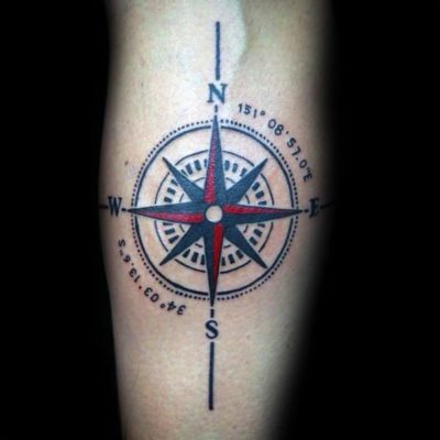 compass with coordinates tattoo