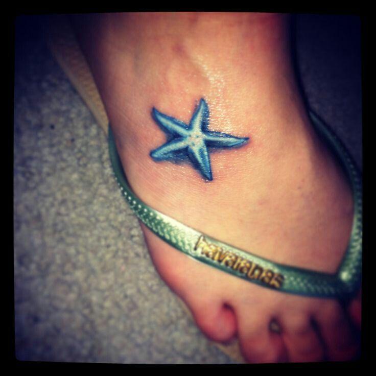 cute 3d star fish tattoo on feet
