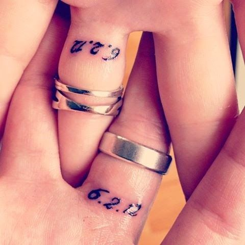 engagement date tattoo for couples wedding