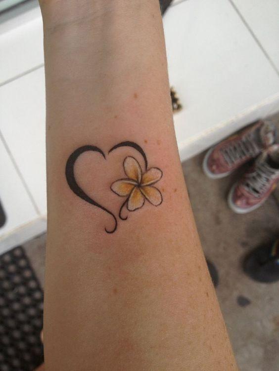flower heart tattoo design on wrist