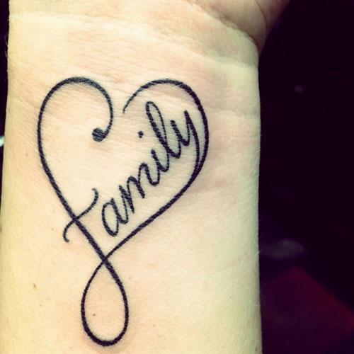 infinity family heart tattoo on wrist