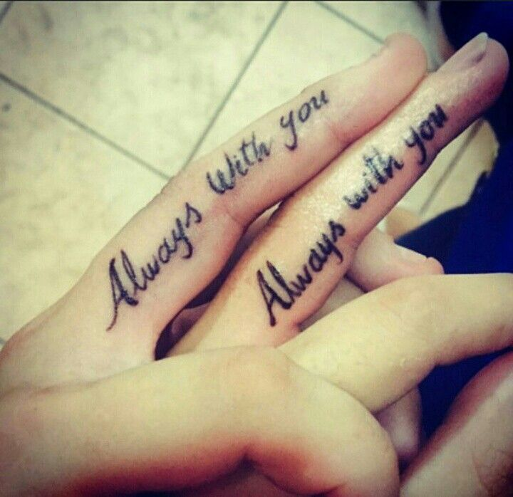 love quote tattoo on fingers for couples