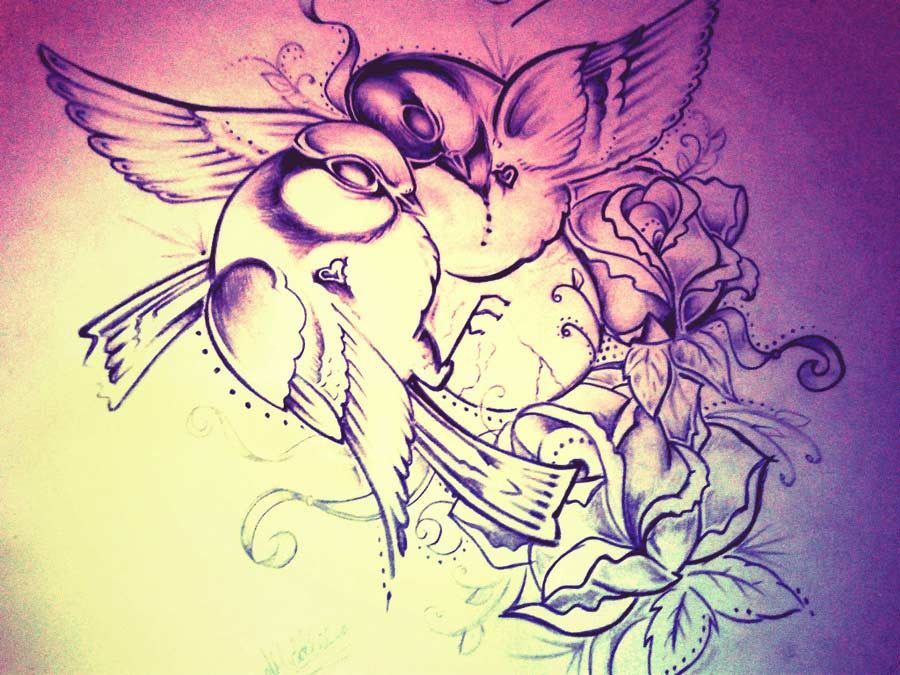 Lovebirds Tattoo Drawing Sketch Design Entertainmentmesh